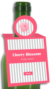 Cherry Blossom Body Lotion Rectangle Bottle Tags