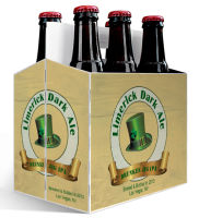6 Pack Carrier Limerick Dark Ale includes plain 6 pack carrier and custom pre-cut labels