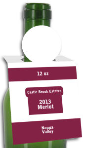 Merlot Rectangle Wine Bottle Tags