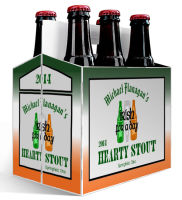 6 Pack Carrier Green Ale Irish includes plain 6 pack carrier and custom pre-cut labels