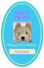 Dog Oval Birthday Favor Tag