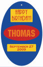 Sport Oval Birthday Favor Tag