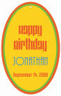 Hippie Oval Birthday Favor Tag