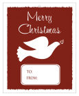 Big Rectangle Red Dove Christmas To From Hang Tag