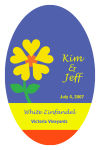 Love Flower Large Oval Wine Label 3.25x5