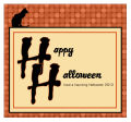 Black Cat Halloween Big Square Labels 3.5x3.25