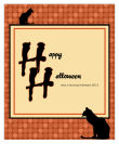 Black Cat Halloween Big Rectangle Labels 3.25x4