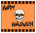 Striped Border Halloween Big Square Favor Tag 3.5x3.25
