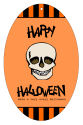 Striped Border Halloween Vertical Oval Favor Tag 2.25x3.5