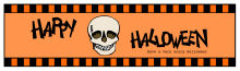 Striped Border  Halloween Water bottle Labels 7x1.875