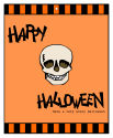 Striped Border Halloween Big Rectangle Favor Tag 3.25x4