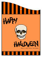 Striped Border Halloween Curved Wine Favor Tag 2.75x3.75