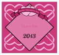 Heart Banner Valentine Big Square Labels 3.5x3.25