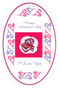 Hearts Clipart Valentine Vertical Oval Favor Tag 2.25x3.5