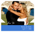 Rectangle Wine Wedding Photo Label with Text 3.5x3.25