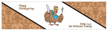 Diagonal Banner Thanksgiving Water Bottle Labels 7x1.875