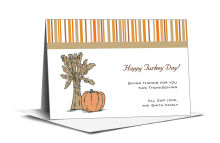 Stripes Thanksgiving Note Card 5x3.5