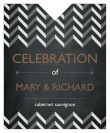 Chalkboard Chevron Wine Wedding Label 3.25x4