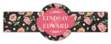 Floral Chalkboard Cigar Band Wedding Labels