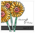 Summer Floral Trio Square Wedding Label
