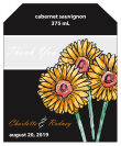 Summer Floral Trio Wine Wedding Label