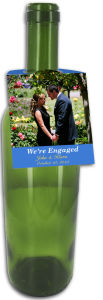 Photo Rounded Wedding Wine Bottle Tag With Text