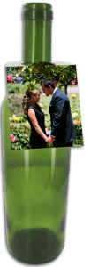Photo Rounded Wedding Wine Bottle Tag