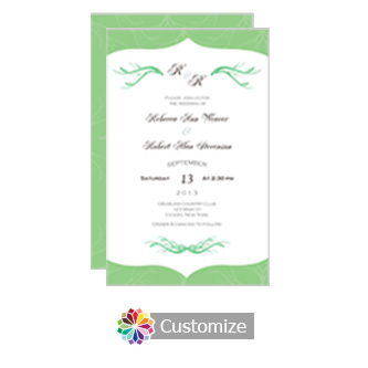 Wave 5 x 7.875 Flat Card Wedding Invitation