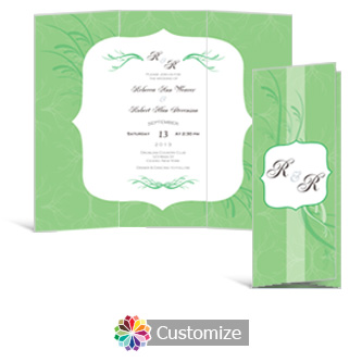 Wave 3.625 x 8.875 Tri-Fold Wedding Invitation
