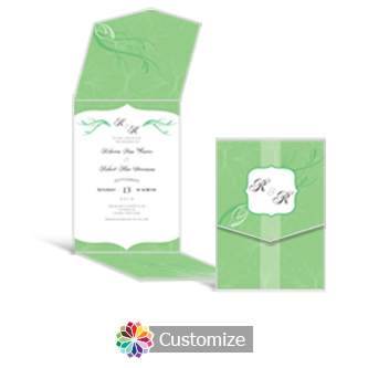 Wave 5.25 x 7.25 Vertical Gate-Fold Wedding Invitation