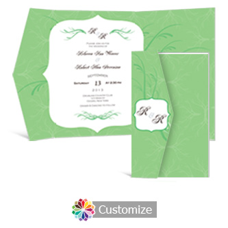Wave 5  x 7.875 Double Folded Wedding Invitation