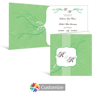 Wave 6 x 6 Square Folded Wedding Invitation