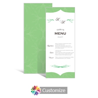 Wave 3.625 x 8.875 Tea-Length Wedding Menu