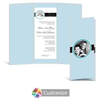 Memorable 3.625 x 8.875 Tri-Fold Wedding Invitation