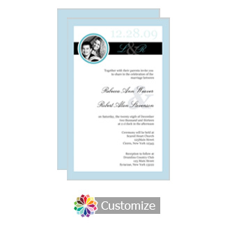 Memorable 5 x 7.875 Flat Card Wedding Invitation