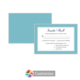Classical 5 x 3.5 RSVP Enclosure Card - Dinner Choice