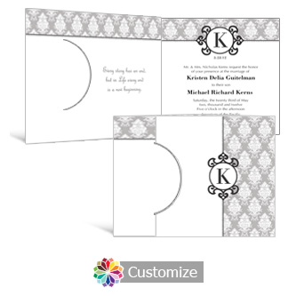 Monogram 7.25 x 5.125 Folded Wedding Invitation