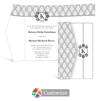 Monogram 5 x 7.875 Double Folded Wedding Invitation