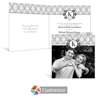 Monogram 6 x 6 Square Folded Wedding Invitation