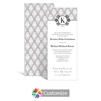 Monogram 3.625 x 8.875 Tea-Length Wedding Invitation