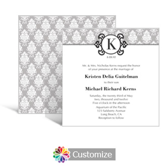 Monogram 5.875 x 5.875 Square Wedding Invitation
