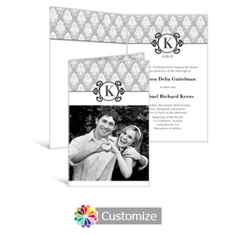 Monogram 5 x 7.875 Half-Fold Wedding Invitation