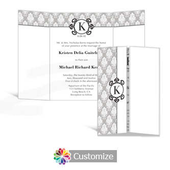 Monogram 5 x 7 Gate-Fold Wedding Invitation