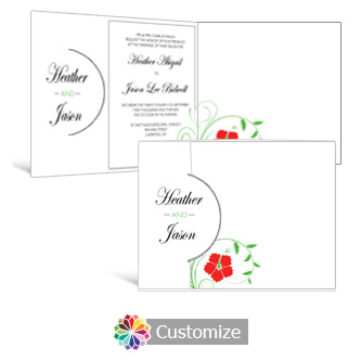 Floral 7.25 x 5.125 Folded Wedding Invitation