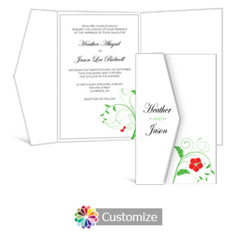 Floral 5 x 7.875 Double Folded Wedding Invitation