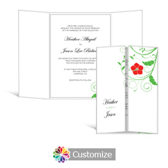 Floral 5 x 7 Gate-Fold Wedding Invitation