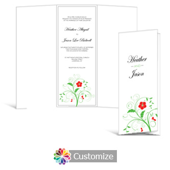 Floral 3.625 x 8.875 Tri-Fold  Wedding Invitation