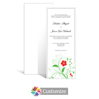 Floral 3.625 x 8.875 Tea-Length Wedding Invitation