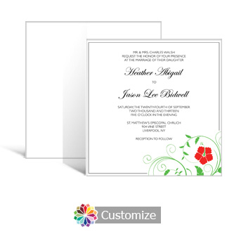Floral 5.875 x 5.875 Square Wedding Invitation