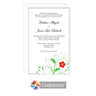 Floral 5 x 7.875 Flat Card Wedding Invitation